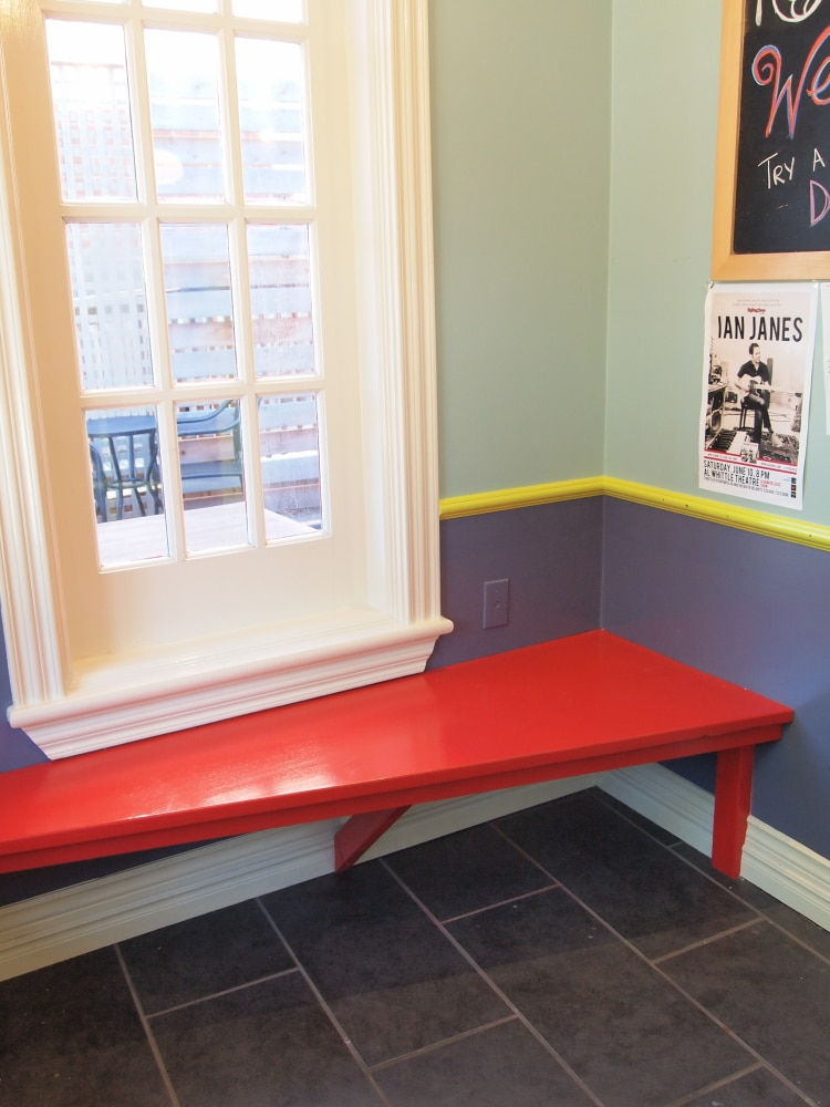 Red Bench in Entryway, Naked Crepe Bistro, Wolfville